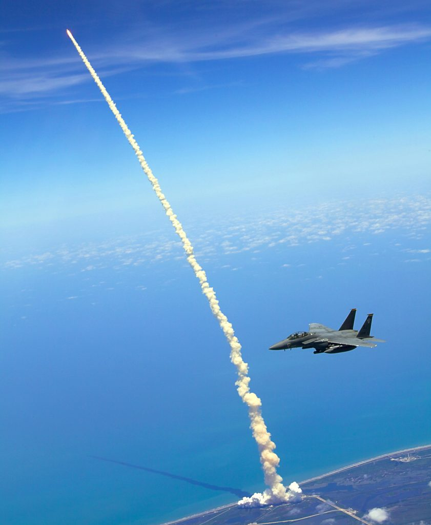 Fighter jets assist shuttle launch